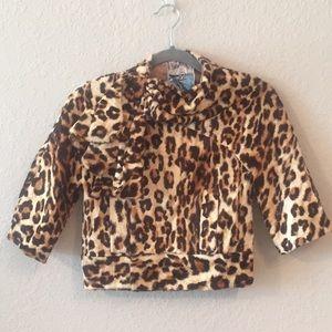 L.A.M.B. Gwen Stefani Leopard Faux Fur Crop Jacket
